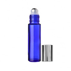 10 ml Blue Roll On Bottle With Steel Ball & Silver Cap