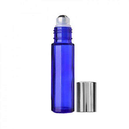 10 ml Blue Roll On Bottle With Steel Ball & Silver Cap
