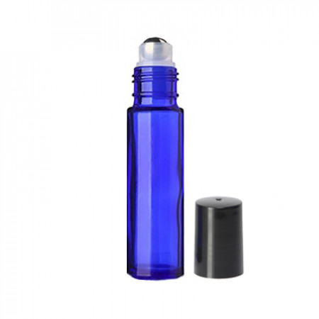 10 ml Blue Roll On Bottle With Steel Ball & Cap
