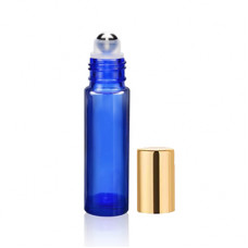 10 ml Blue Roll On Bottle With Steel Ball & Gold Cap