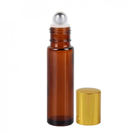 10 ml Amber Roll On Bottle With Steel Ball & Gold Cap