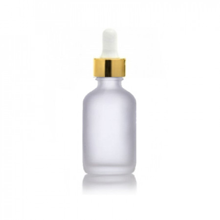 1 Oz Frosted Glass Bottle With Gold & White Dropper