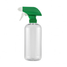 16 Oz Clear Bottle With Green White Sprayer