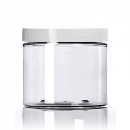 16 Oz Clear PET Jar With White Cap