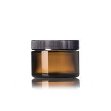 1 Oz Amber Glass Jar With Black Ribbed Cap