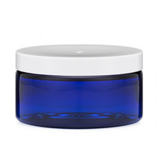 8 Oz Blue PET Heavy Wall Jar With White Cap