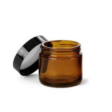 2 OZ Amber Glass Jar With Black Cap