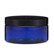 8 Oz Blue PET Heavy Wall Jar With Black Cap