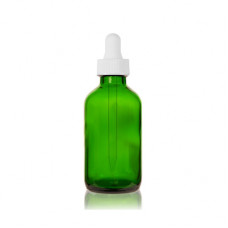 2 Oz Green Glass Boston Bottle With White Dropper