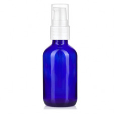 2 Oz Blue Glass Bottle With White Treatment Pump