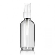 2 Oz Clear Glass With White Treatment Pump