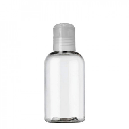 2 Oz Clear PET Boston Bottle With Natural Disc Top