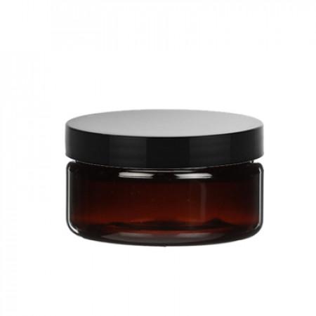 2 OZ Amber Heavy Wall Jar With Black Cap