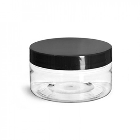 2 Oz Pet  Jar With Black Cap