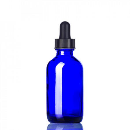 2 Oz Blue Glass Bottle With Black Dropper