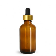 2 Oz Amber Glass Bottle With Gold Dropper