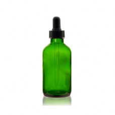 2 Oz Green Glass Boston Bottle With Black Dropper