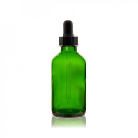 2 Oz Green Glass Boston Bottle With Black Dropper