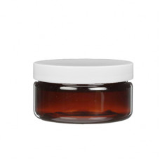 2 OZ Amber Heavy Wall Jar With White Cap