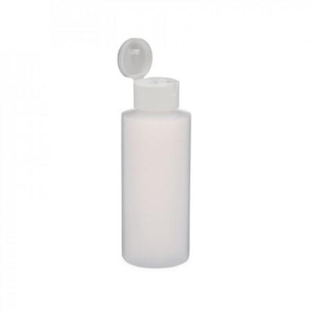 2 oz Natural Cylinder Bottle White Snap Top