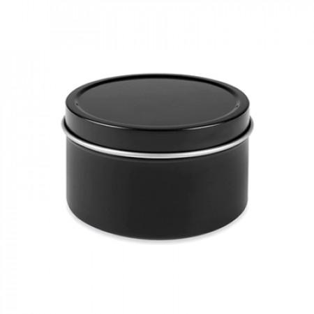 4 Oz Black Metal Tin Jar With Slip On Top
