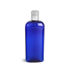 4 Oz Blue PET Oval Bottle With Natural Disc Top