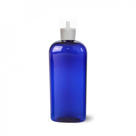4 Oz Blue PET Oval Bottle With White Lock Top