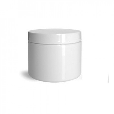 4 Oz White Double Wall Jar With Cap