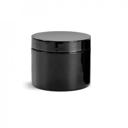 4 Oz Double Wall Jar Black With Cap