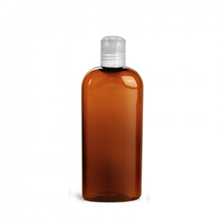 4 Oz Amber PET Oval Bottle With White Lock Top