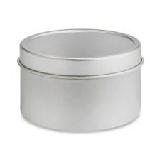 8 OZ Silver Deep Metal Tin With Slip Cover Top