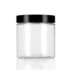 8 OZ Clear Pet Jar With Black Cap