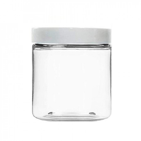 8 OZ Clear Pet Jar With White Cap