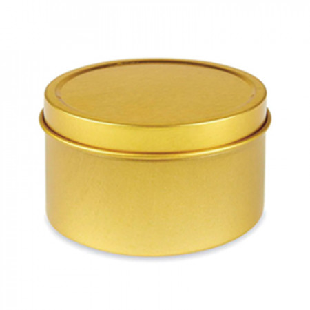8 OZ Gold Deep Metal Tin With Slip Cover Top