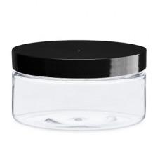 8 Oz Clear Pet Heavy Wall Jar With Black Cap