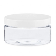 8 Oz Clear Pet Heavy Wall Jar With White Cap
