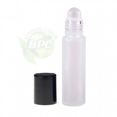 10 ml Frosted Roll On Bottle With Black Cap