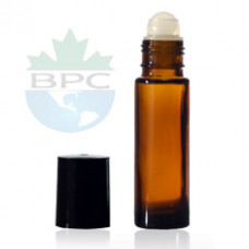 10 ml Amber Roll On Bottle With Black Cap