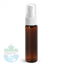 1 Oz Amber PET Bottle With White Sprayer