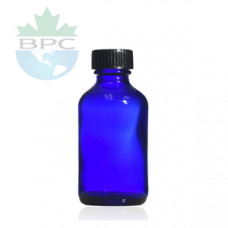 1 Oz Blue Glass Bottle With Black Cap