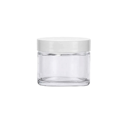 1 Oz Clear Glass Jar With White Smooth Lined Cap