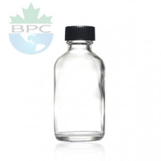1 Oz Clear Glass Bottle With Black Cap