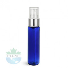1 Oz Blue PET Bottle With Silver Sprayer
