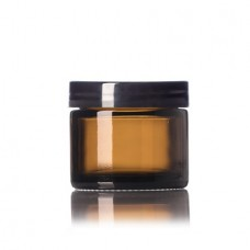 2 Oz Amber Glass Jar With Black Smooth Lined Cap