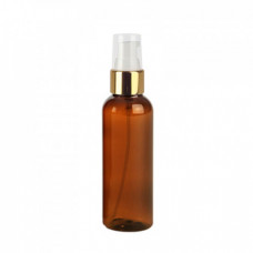 2 Oz Amber PET Bottle With Gold Treatment Pump