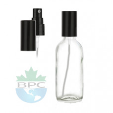 2 Oz Clear Glass Bottle With Black Sprayer