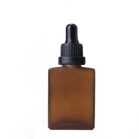 30 ml Amber Frosted Glass Rectangle Bottle With Dropper
