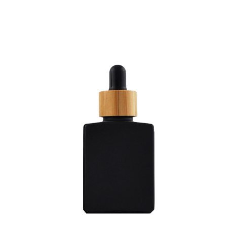 30 ml Black Glass Rectangle Bottle With Black Bamboo Dropper