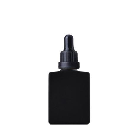 30 ml Black Glass Bottle Rectangle With Black Dropper