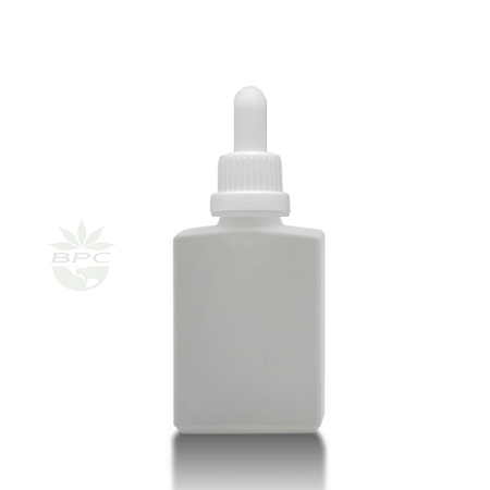 30 ml Rectangle Glass Bottle White With Dropper